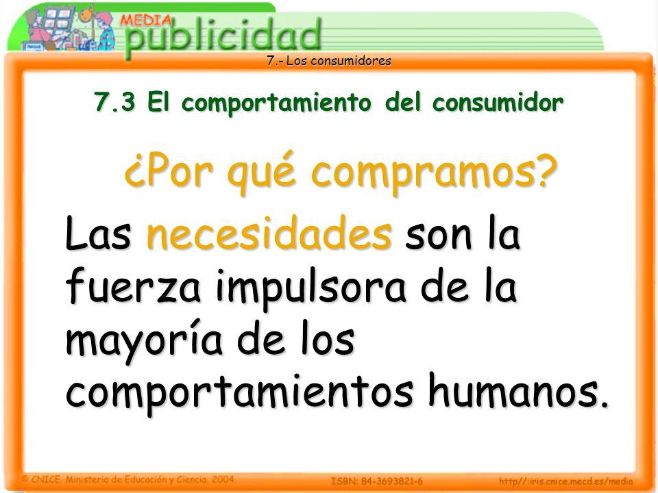 7.- Los consumidores 7.3 El comportamiento del consumidor ¿Por qué compramos.