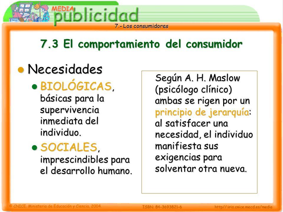 7.- Los consumidores 7.3 El comportamiento del consumidor Necesidades Necesidades BIOLÓGICAS, básicas para la supervivencia inmediata del individuo.