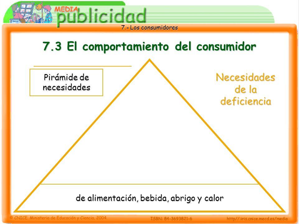 7.- Los consumidores 7.3 El comportamiento del consumidor de alimentación, bebida, abrigo y calor Pirámide de necesidades Necesidades de la deficiencia