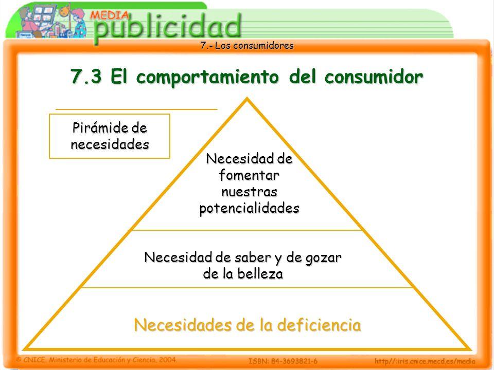 7.- Los consumidores 7.3 El comportamiento del consumidor Pirámide de necesidades Necesidades de la deficiencia Necesidad de saber y de gozar de la belleza Necesidad de fomentar nuestras potencialidades