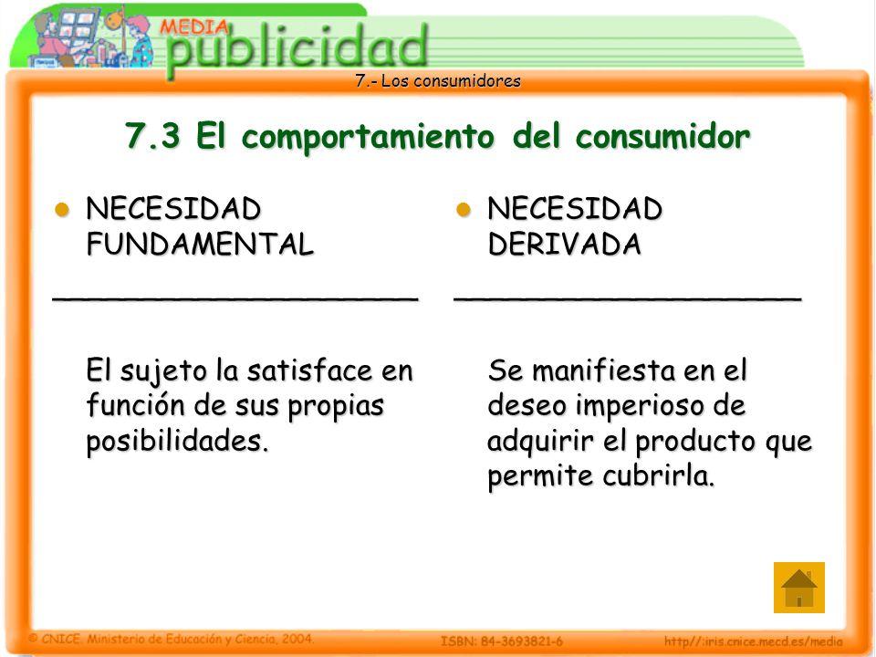 7.- Los consumidores 7.3 El comportamiento del consumidor NECESIDAD FUNDAMENTAL NECESIDAD FUNDAMENTAL____________________ El sujeto la satisface en función de sus propias posibilidades.