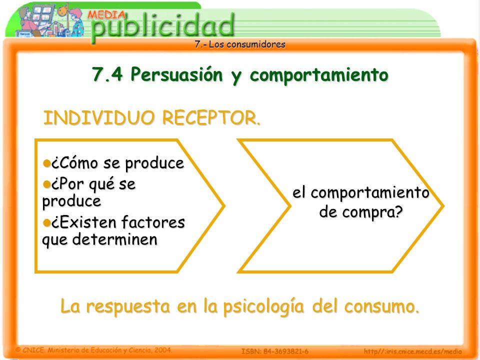 7.- Los consumidores 7.4 Persuasión y comportamiento ¿Cómo se produce ¿Cómo se produce ¿Por qué se produce ¿Por qué se produce ¿Existen factores que determinen ¿Existen factores que determinen el comportamiento de compra.