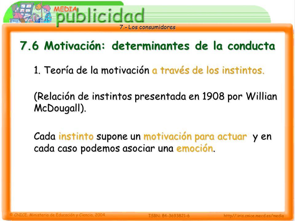 7.- Los consumidores 7.6 Motivación: determinantes de la conducta 1.