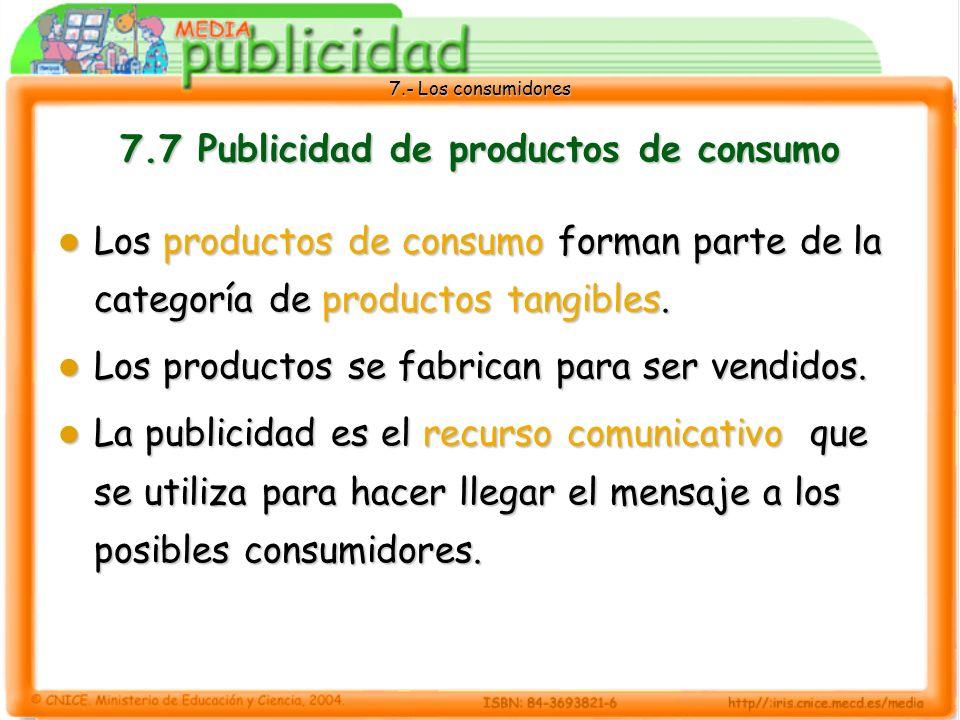 7.- Los consumidores 7.7 Publicidad de productos de consumo Los productos de consumo forman parte de la categoría de productos tangibles.