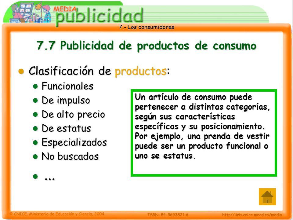 7.- Los consumidores 7.7 Publicidad de productos de consumo Clasificación de productos: Clasificación de productos: Funcionales Funcionales De impulso De impulso De alto precio De alto precio De estatus De estatus Especializados Especializados No buscados No buscados......