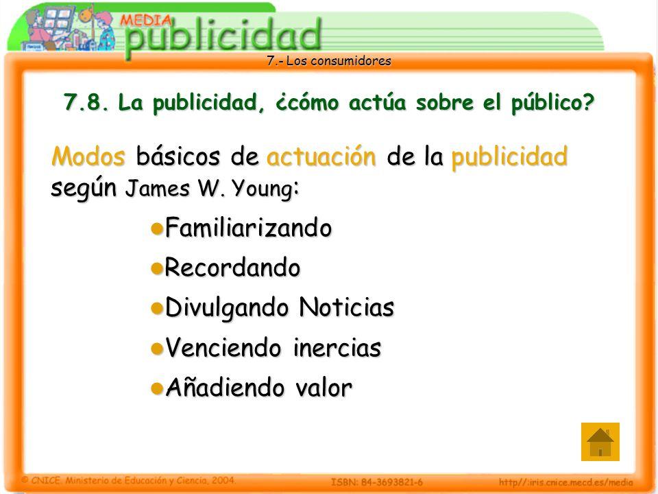 7.- Los consumidores 7.8.La publicidad, ¿cómo actúa sobre el público.