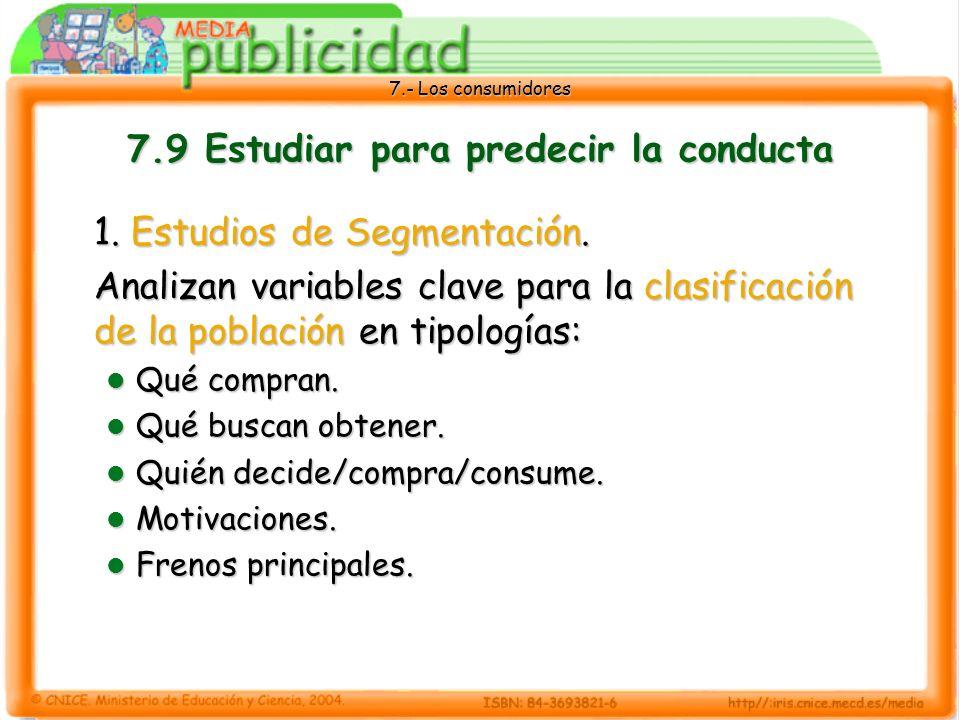 7.- Los consumidores 7.9 Estudiar para predecir la conducta 1.