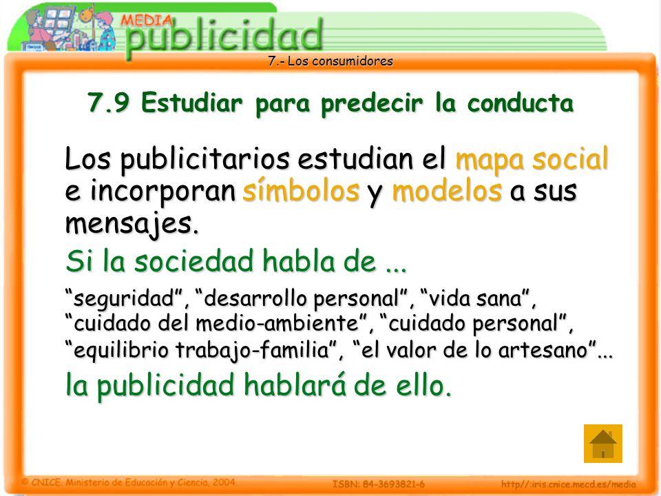 7.- Los consumidores 7.9 Estudiar para predecir la conducta Los publicitarios estudian el mapa social e incorporan símbolos y modelos a sus mensajes.