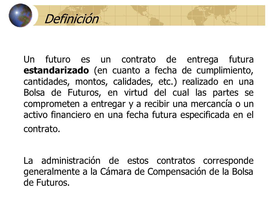 Definición Un futuro es un contrato de entrega futura estandarizado (en cuanto a fecha de cumplimiento, cantidades, montos, calidades, etc.) realizado