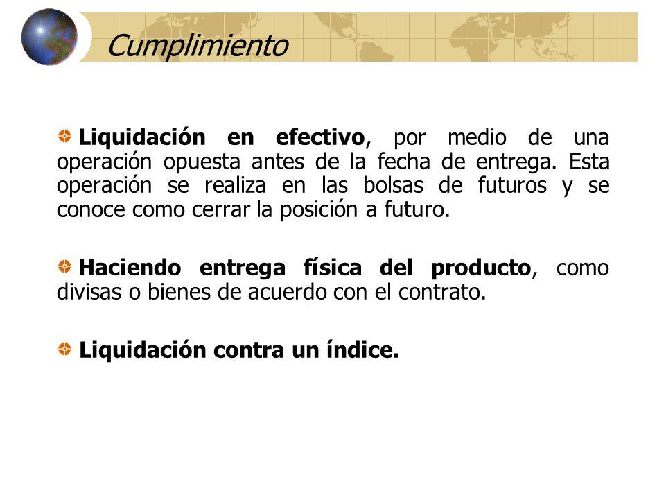 Cumplimiento Liquidación en efectivo, por medio de una operación opuesta antes de la fecha de entrega. Esta operación se realiza en las bolsas de futu