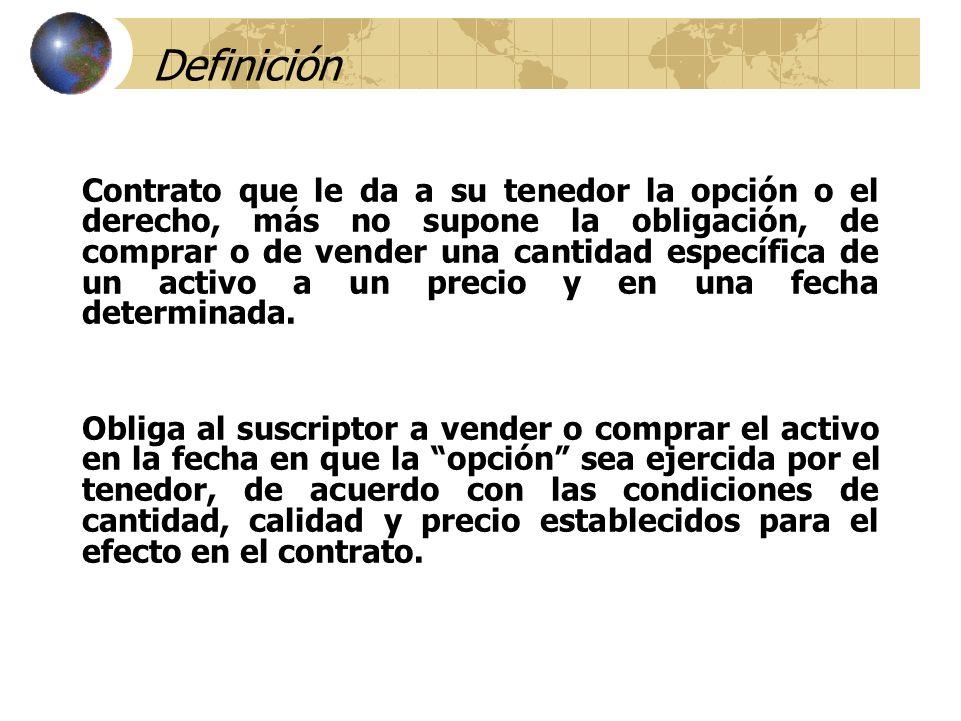 Definición Contrato que le da a su tenedor la opción o el derecho, más no supone la obligación, de comprar o de vender una cantidad específica de un a
