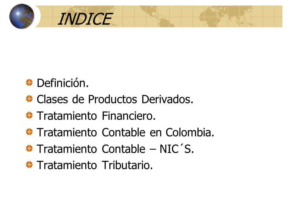 INDICE Definición. Clases de Productos Derivados. Tratamiento Financiero. Tratamiento Contable en Colombia. Tratamiento Contable – NIC´S. Tratamiento