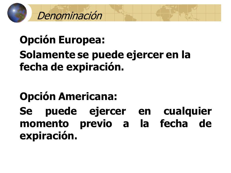 Denominación Opción Europea: Solamente se puede ejercer en la fecha de expiración. Opción Americana: Se puede ejercer en cualquier momento previo a la