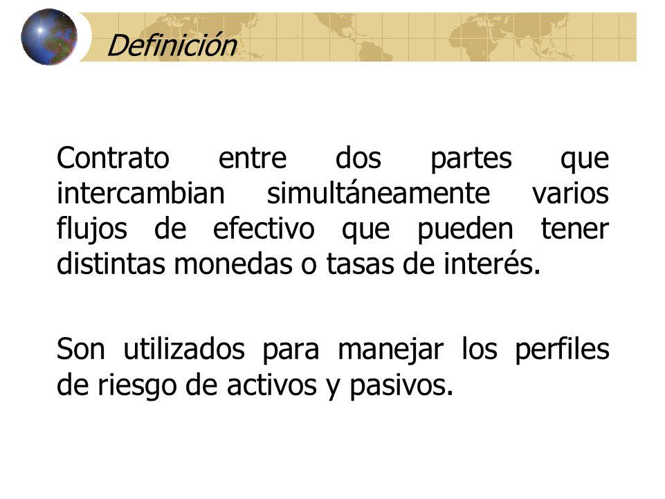 Definición Contrato entre dos partes que intercambian simultáneamente varios flujos de efectivo que pueden tener distintas monedas o tasas de interés.