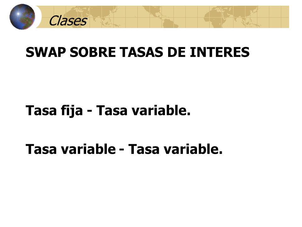Clases SWAP SOBRE TASAS DE INTERES Tasa fija - Tasa variable. Tasa variable - Tasa variable.