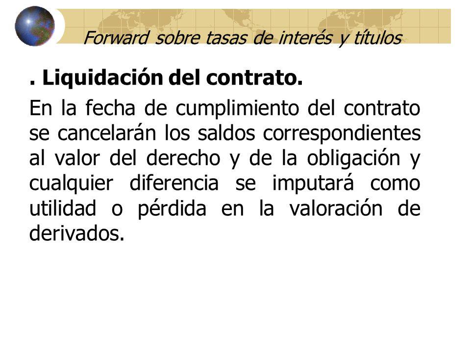 Forward sobre tasas de interés y títulos. Liquidación del contrato. En la fecha de cumplimiento del contrato se cancelarán los saldos correspondientes