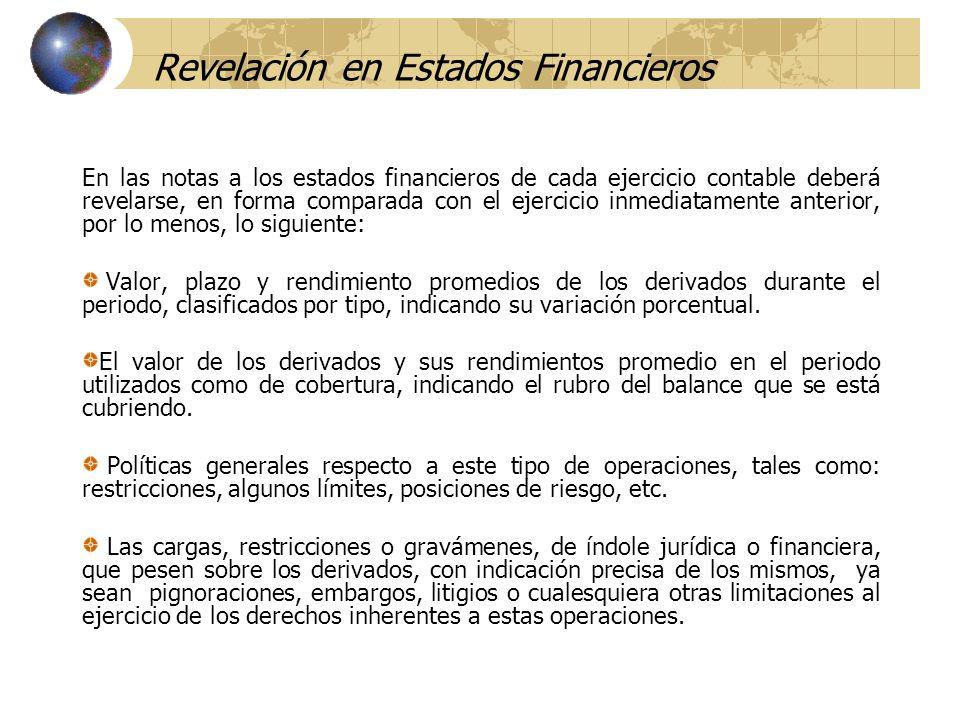 Revelación en Estados Financieros En las notas a los estados financieros de cada ejercicio contable deberá revelarse, en forma comparada con el ejerci