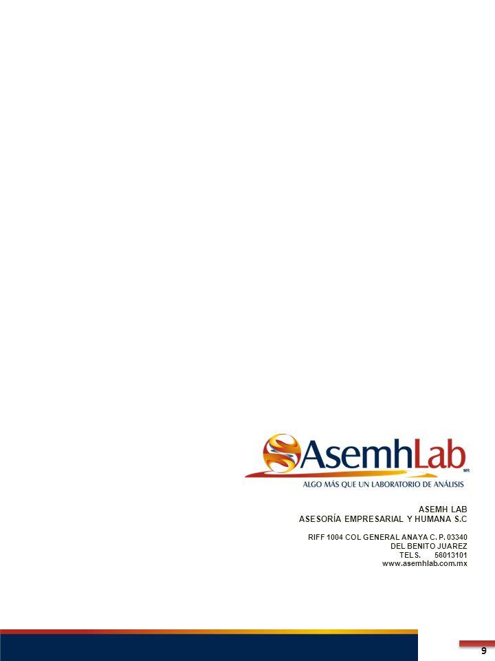ASEMH LAB ASESORÍA EMPRESARIAL Y HUMANA S.C RIFF 1004 COL GENERAL ANAYA C. P. 03340 DEL BENITO JUAREZ TELS. 56013101 www.asemhlab.com.mx 9