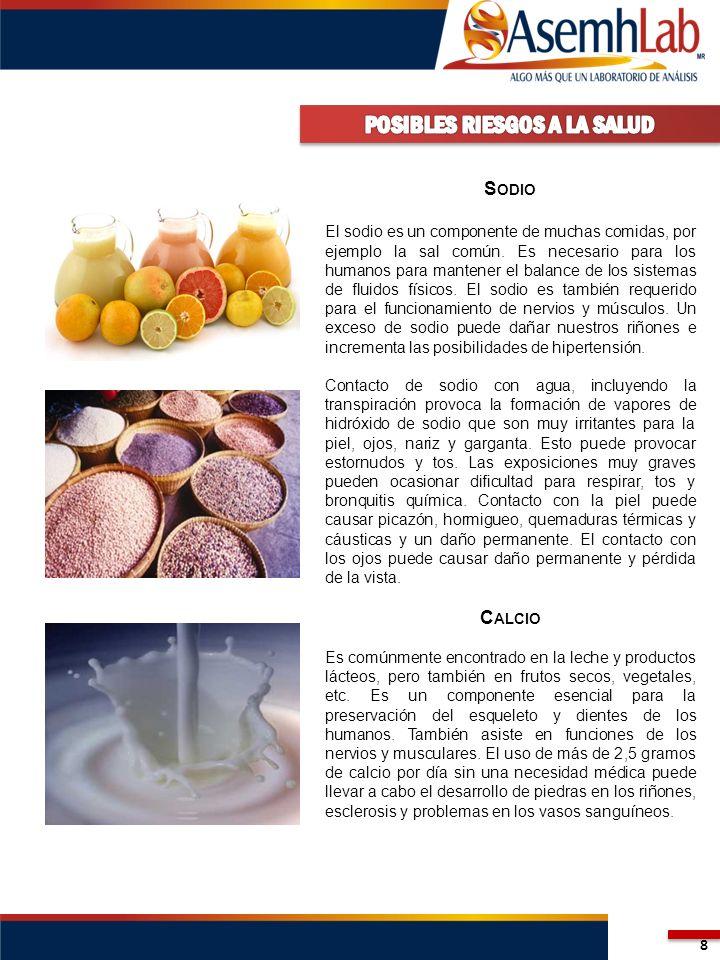 8 S ODIO El sodio es un componente de muchas comidas, por ejemplo la sal común. Es necesario para los humanos para mantener el balance de los sistemas