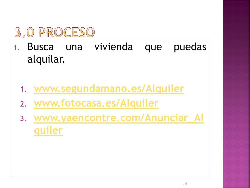 1. Busca una vivienda que puedas alquilar. 1. www.segundamano.es/Alquiler www.segundamano.es/Alquiler 2. www.fotocasa.es/Alquiler www.fotocasa.es/Alqu