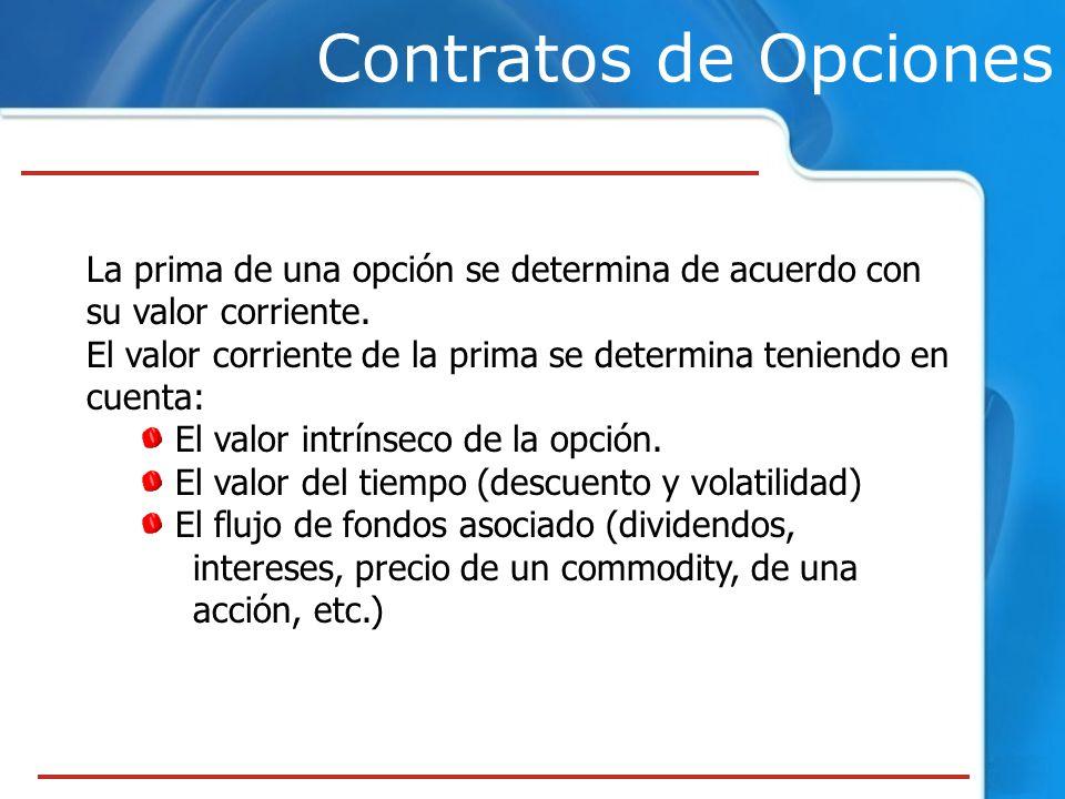 Contratos de Opciones La prima de una opción se determina de acuerdo con su valor corriente. El valor corriente de la prima se determina teniendo en c