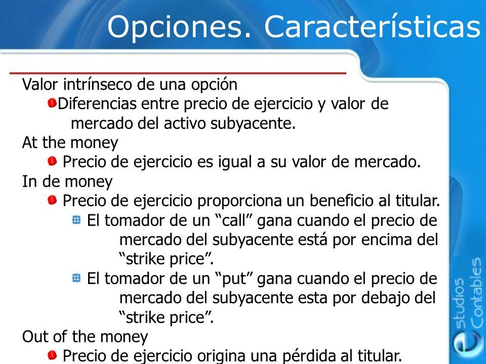 Opciones. Características Valor intrínseco de una opción Diferencias entre precio de ejercicio y valor de mercado del activo subyacente. At the money