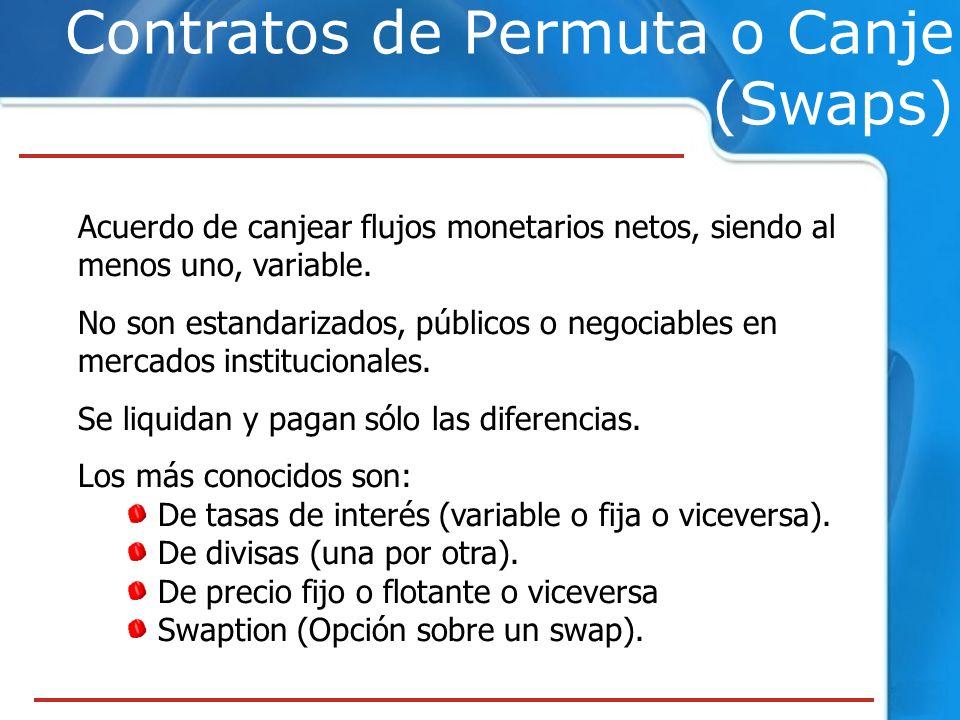 Contratos de Permuta o Canje (Swaps) Acuerdo de canjear flujos monetarios netos, siendo al menos uno, variable. No son estandarizados, públicos o nego