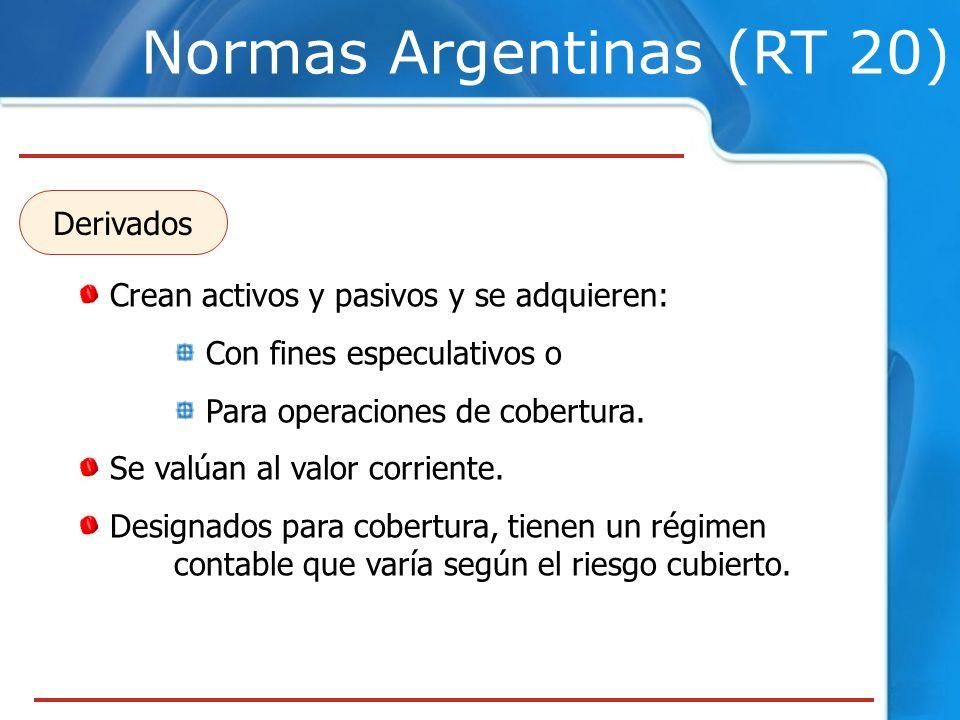 Normas Argentinas (RT 20) Crean activos y pasivos y se adquieren: Con fines especulativos o Para operaciones de cobertura. Se valúan al valor corrient