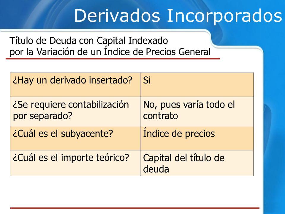 Derivados Incorporados Título de Deuda con Capital Indexado por la Variación de un Índice de Precios General ¿Hay un derivado insertado?Si ¿Se requier