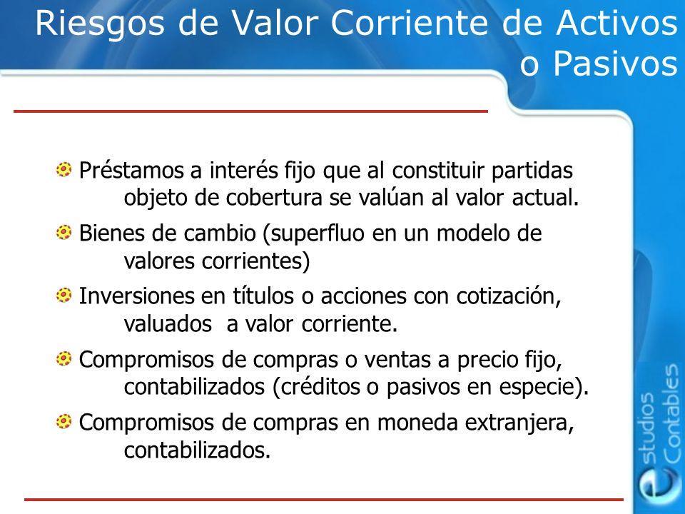 Riesgos de Valor Corriente de Activos o Pasivos Préstamos a interés fijo que al constituir partidas objeto de cobertura se valúan al valor actual. Bie