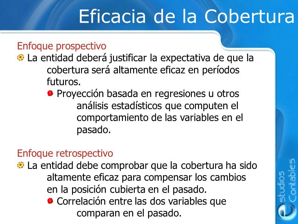 Eficacia de la Cobertura Enfoque prospectivo La entidad deberá justificar la expectativa de que la cobertura será altamente eficaz en períodos futuros
