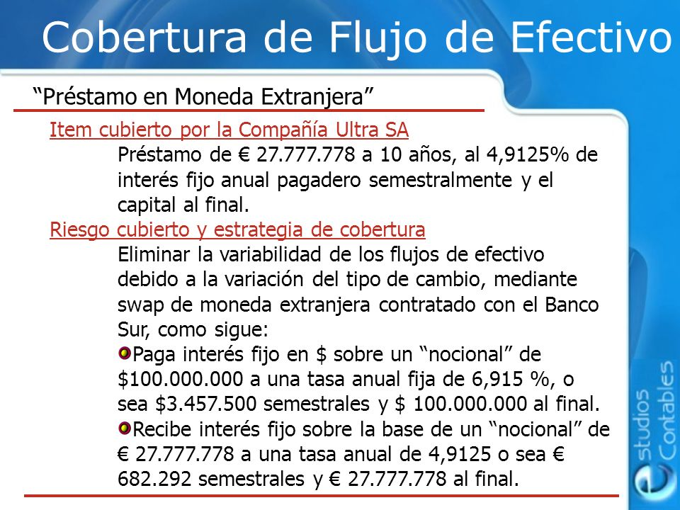 Cobertura de Flujo de Efectivo Préstamo en Moneda Extranjera Item cubierto por la Compañía Ultra SA Préstamo de 27.777.778 a 10 años, al 4,9125% de in