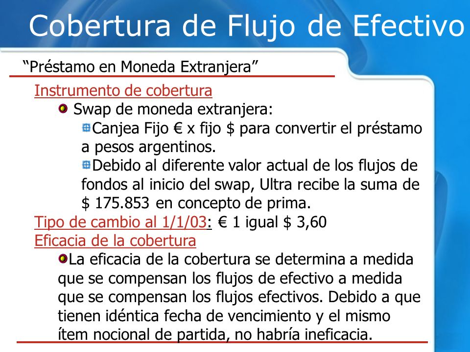 Cobertura de Flujo de Efectivo Préstamo en Moneda Extranjera Instrumento de cobertura Swap de moneda extranjera: Canjea Fijo x fijo $ para convertir e