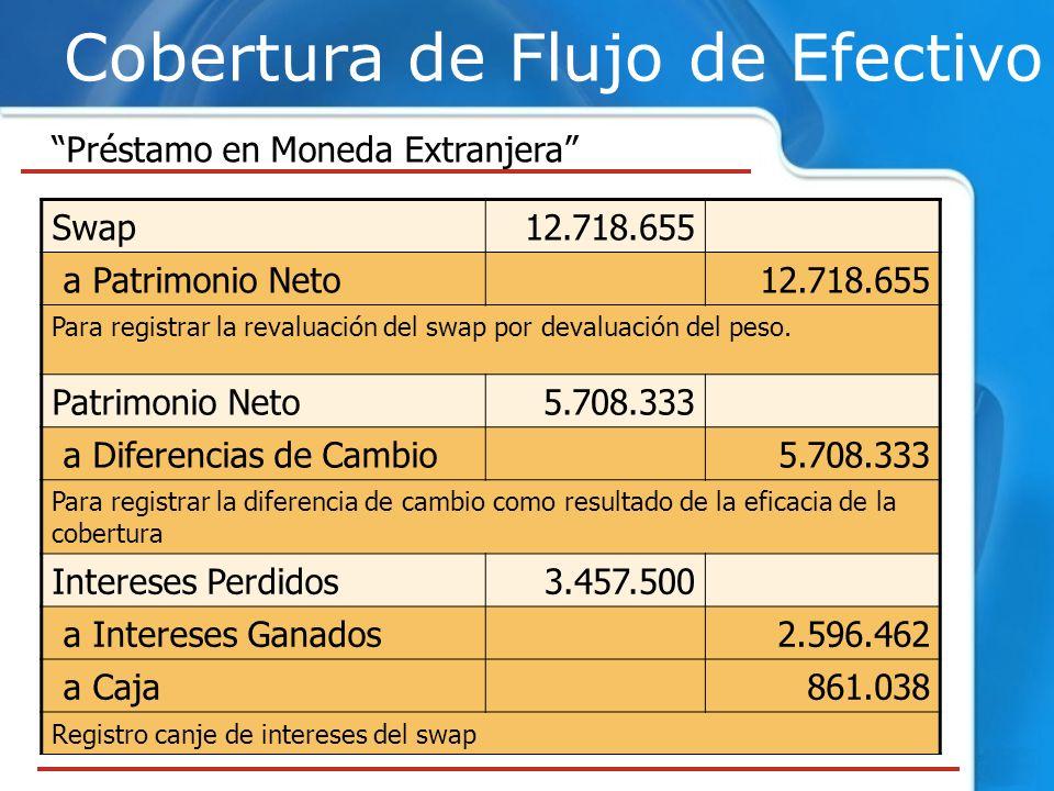 Cobertura de Flujo de Efectivo Préstamo en Moneda Extranjera Swap12.718.655 a Patrimonio Neto12.718.655 Para registrar la revaluación del swap por dev