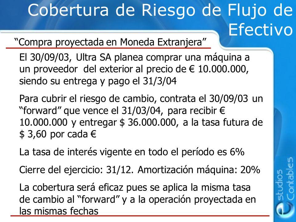 Cobertura de Riesgo de Flujo de Efectivo Compra proyectada en Moneda Extranjera El 30/09/03, Ultra SA planea comprar una máquina a un proveedor del ex