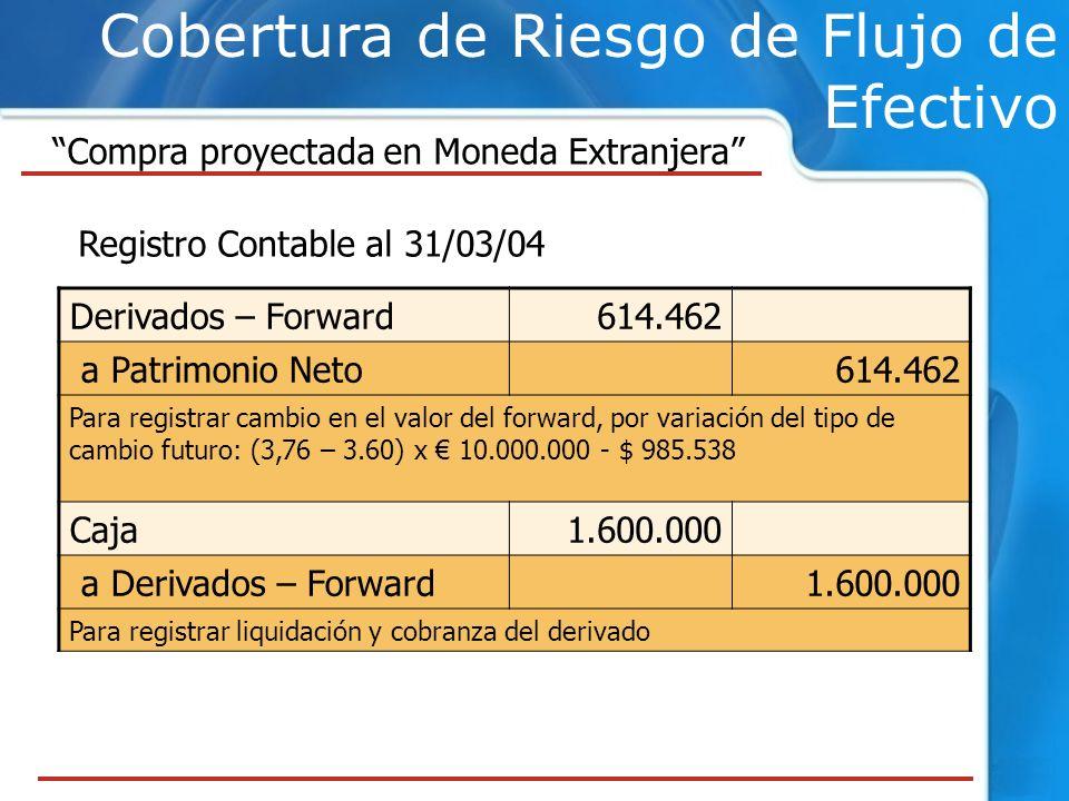 Cobertura de Riesgo de Flujo de Efectivo Compra proyectada en Moneda Extranjera Registro Contable al 31/03/04 Derivados – Forward614.462 a Patrimonio