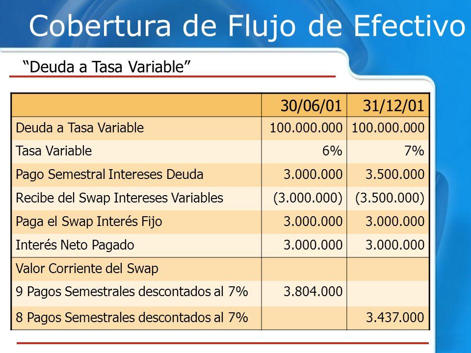 Cobertura de Flujo de Efectivo Deuda a Tasa Variable 30/06/0131/12/01 Deuda a Tasa Variable100.000.000 Tasa Variable6%7% Pago Semestral Intereses Deud