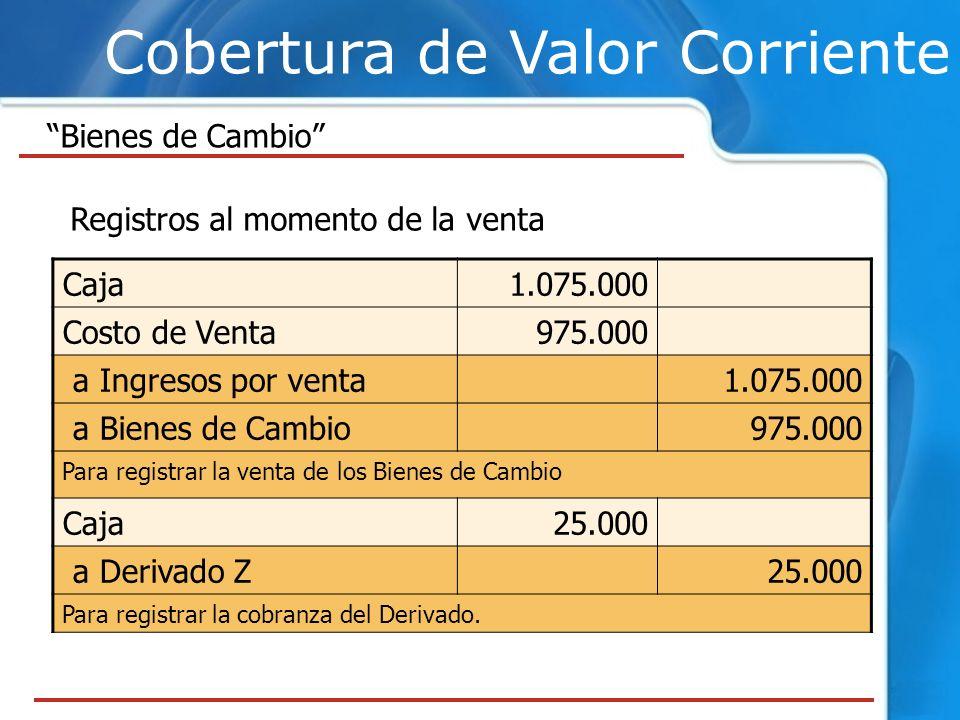 Cobertura de Valor Corriente Bienes de Cambio Registros al momento de la venta Caja1.075.000 Costo de Venta975.000 a Ingresos por venta1.075.000 a Bie