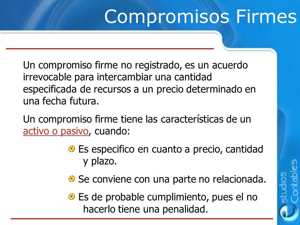 Compromisos Firmes Un compromiso firme no registrado, es un acuerdo irrevocable para intercambiar una cantidad especificada de recursos a un precio de