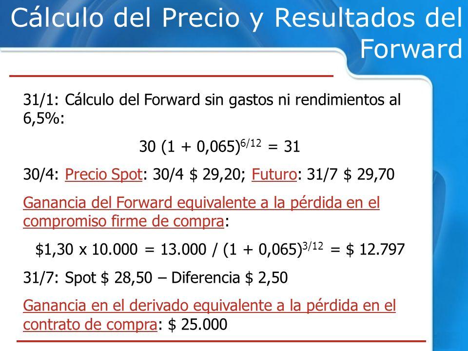 Cálculo del Precio y Resultados del Forward 31/1: Cálculo del Forward sin gastos ni rendimientos al 6,5%: 30 (1 + 0,065) 6/12 = 31 30/4: Precio Spot: