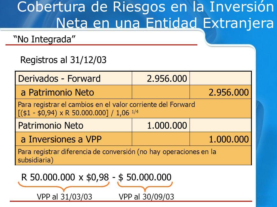 Cobertura de Riesgos en la Inversión Neta en una Entidad Extranjera No Integrada Registros al 31/12/03 Derivados - Forward2.956.000 a Patrimonio Neto2