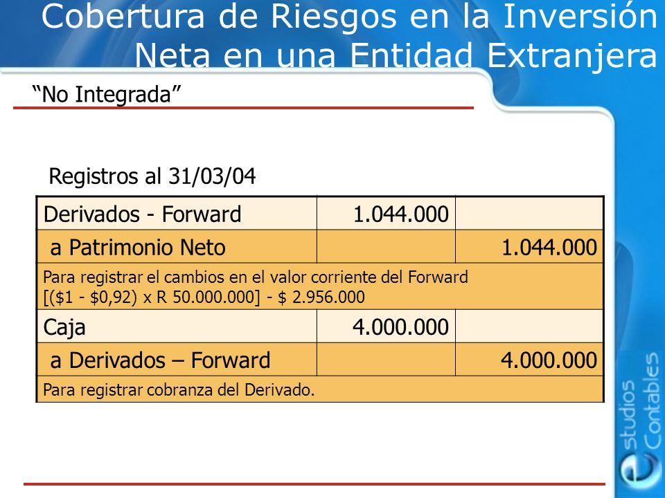 Cobertura de Riesgos en la Inversión Neta en una Entidad Extranjera No Integrada Registros al 31/03/04 Derivados - Forward1.044.000 a Patrimonio Neto1