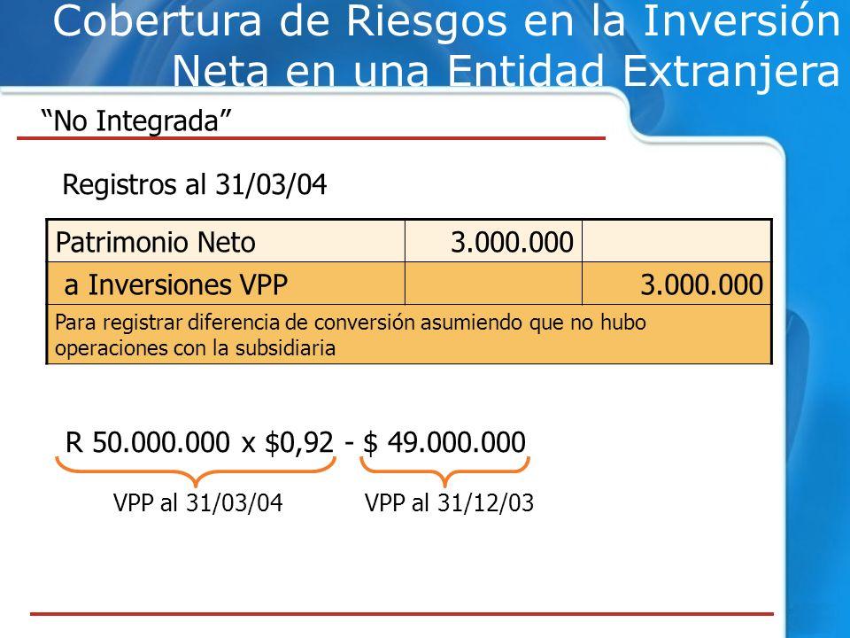 Cobertura de Riesgos en la Inversión Neta en una Entidad Extranjera No Integrada Registros al 31/03/04 Patrimonio Neto3.000.000 a Inversiones VPP3.000
