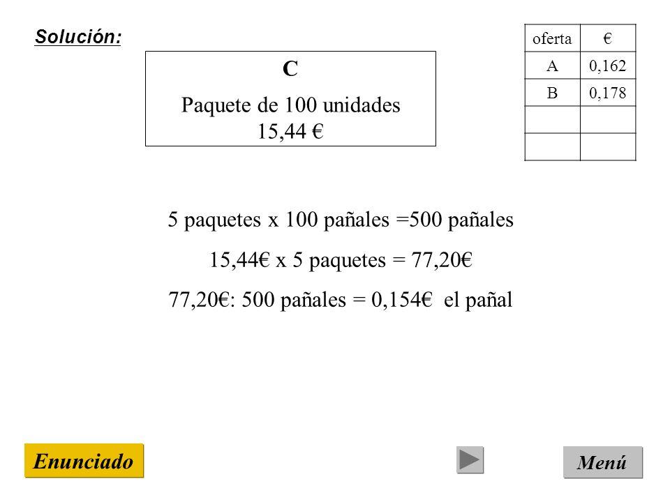 Solución: Menú Enunciado C Paquete de 100 unidades 15,44 5 paquetes x 100 pañales =500 pañales 15,44 x 5 paquetes = 77,20 77,20: 500 pañales = 0,154 el pañal oferta A0,162 B0,178