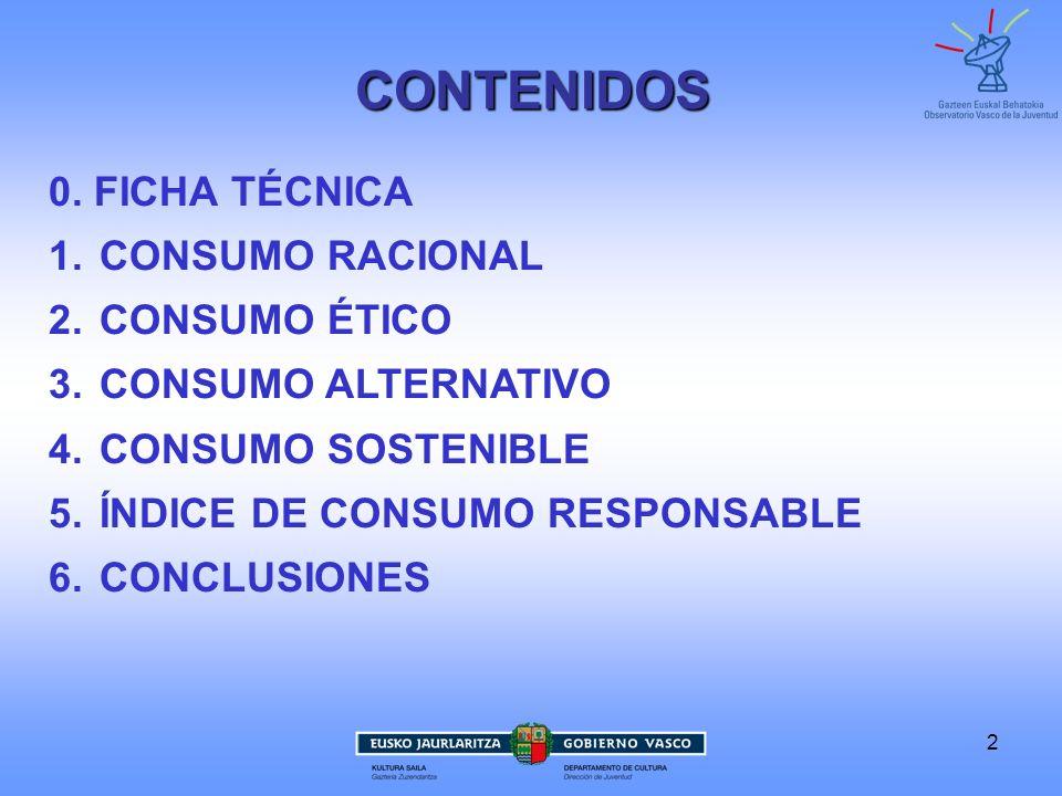 2 0. FICHA TÉCNICA 1. CONSUMO RACIONAL 2. CONSUMO ÉTICO 3. CONSUMO ALTERNATIVO 4. CONSUMO SOSTENIBLE 5. ÍNDICE DE CONSUMO RESPONSABLE 6. CONCLUSIONES