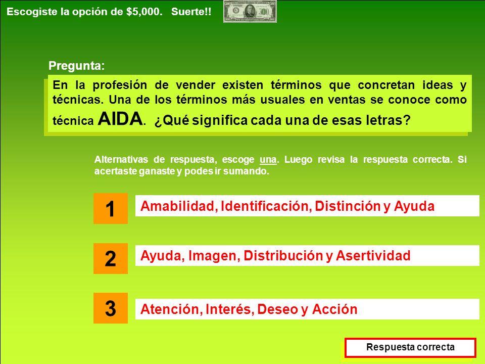 Destrezas Comerciales S.A. www.destrezascomerciales.com Escogiste la opción de $5,000. Suerte!! En la profesión de vender existen términos que concret