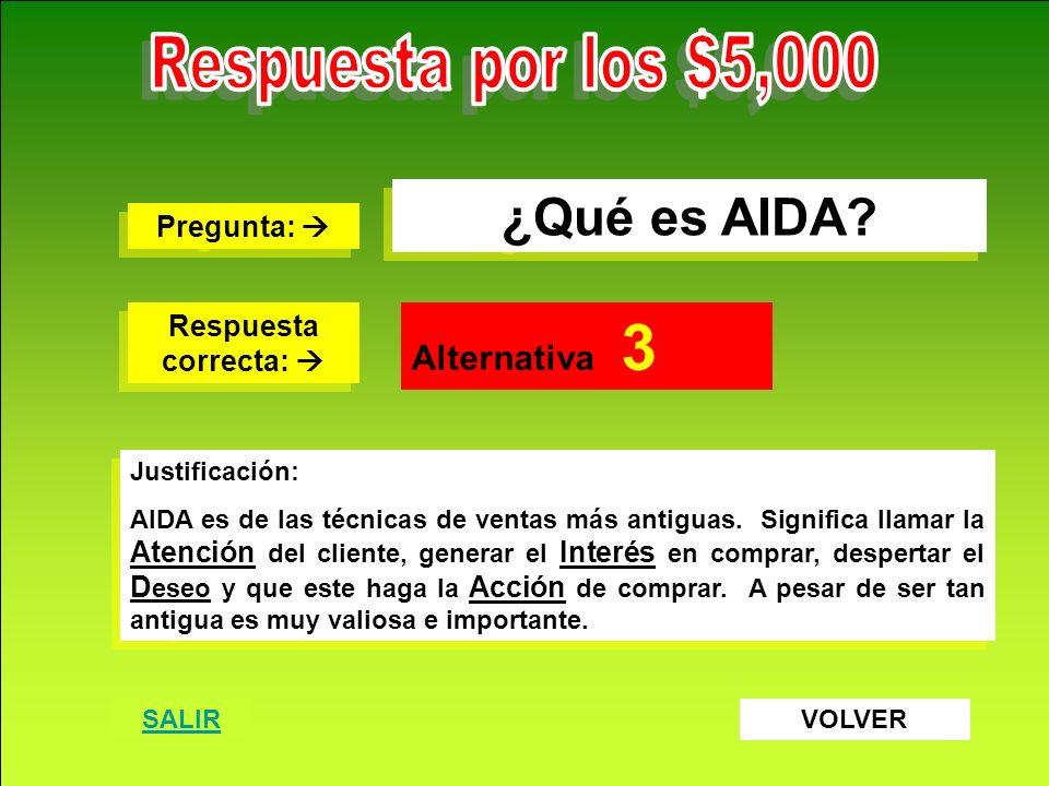 Destrezas Comerciales S.A. www.destrezascomerciales.com ¿Qué es AIDA? Pregunta: Pregunta: Respuesta correcta: Respuesta correcta: Alternativa 3 Justif