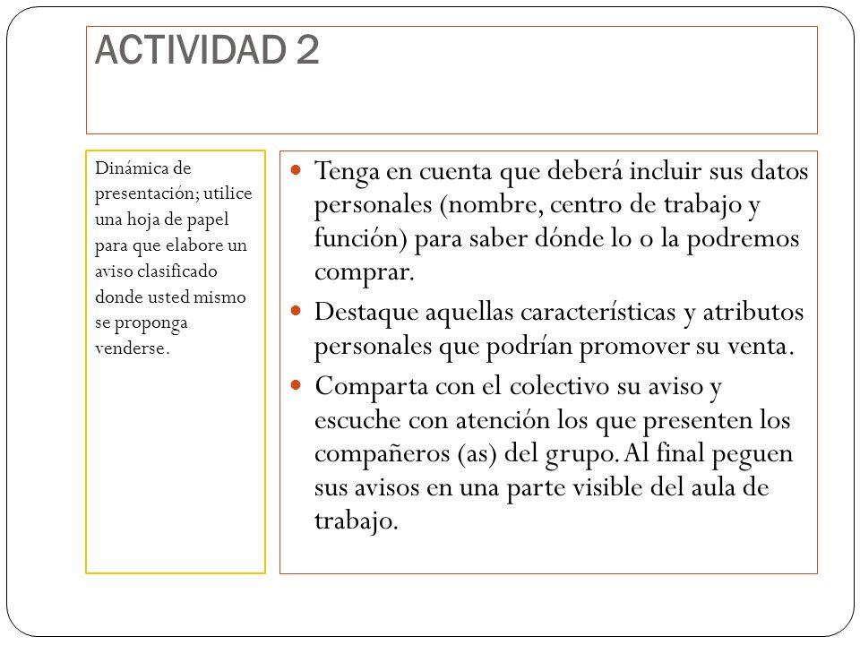 ACTIVIDAD 2 Tenga en cuenta que deberá incluir sus datos personales (nombre, centro de trabajo y función) para saber dónde lo o la podremos comprar.