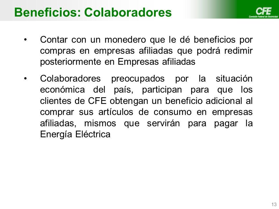 Confidencial CFE / CFE Telecom 13 Beneficios: Colaboradores Contar con un monedero que le dé beneficios por compras en empresas afiliadas que podrá re