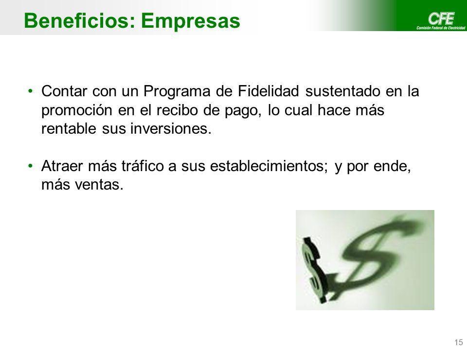 Confidencial CFE / CFE Telecom 15 Beneficios: Empresas Contar con un Programa de Fidelidad sustentado en la promoción en el recibo de pago, lo cual ha